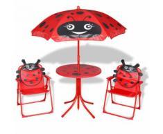 vidaXL Garten-Sitzgruppe für Kinder mit Sonnenschirm Rot