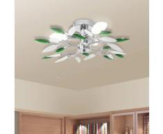 vidaXL Deckenleuchte Weiße & Grüne Acrylglas-Blätter 3 × E14-Lampen