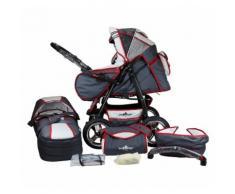 Bergsteiger Kombi Kinderwagen Rio, 10 tlg., grey & red stripes