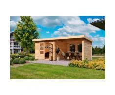 KONIFERA Set: Gartenhaus »Ringköbing 5«, BxT: 615x333 cm, inkl. Anbau mit Seiten- und Rückwand