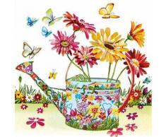 """Serviette """"Gießkanne mit Blumen"""""""