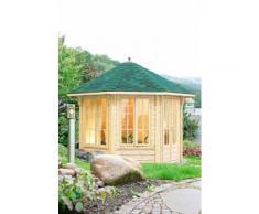 WOLFF Holzpavillon »Capri 3.5«, BxT: 430x430 cm, mit grün-schwarzen Schindeln