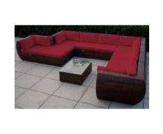 BAIDANI Loungeset »Extreme«, 1 XXL Sofa, 1 Hocker, Tisch, Polyrattan