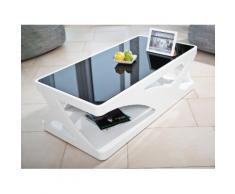 salesfever couchtisch in hochglanz wei mit schwarzer glasplatte. Black Bedroom Furniture Sets. Home Design Ideas