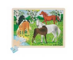 goki Holzpuzzle 48 Teile Pferdekoppel
