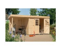 LUOMAN Gartenhaus »Lillevilla 329 MOD«, BxT: 240x200 cm, mit Anbau (180 cm breite) + Rückwand