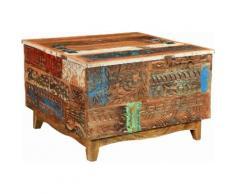 The Wood Times Couchtisch-Truhe «Agra», Breite 80 cm, mit handgeschnitzten Verzierungen