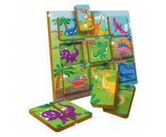 Lisciani Duo Holzpuzzle - Dinosaurier - 9 x 2 Teile