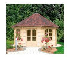 WOLFF FINNHAUS Holzpavillon »Palermo 4.5«, BxT: 534x534 cm, mit rot-schwarzen Schindeln
