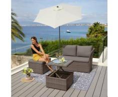 KONIFERA Loungeset »Marseille Premium«, 7-tlg., 2er Sofa, 1 Hocker, Tisch 57x57x36-63 cm, Polyrattan