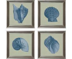 G&C gerahmter Kunstdruck »Chambray Shell Bilderset« , 4 maritime Motive à 40/40 cm
