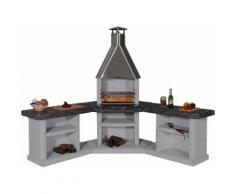 Gartenkamin/Außenküche »Ardea« Edelstahl, weiß/grau/schwarz