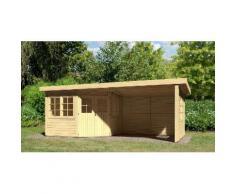 KONIFERA Gartenhaus »5-Eck Leppin 3 Set 4«, Gesamtmaß (BxT): 598x577 cm, Inkl. Anbau