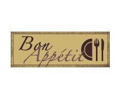 Xavax Dekoschild Vintage Blechschild mit Spruch Wanddeko Metall »Bon Appétit, 39 x 14 cm«