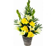 Kunstpflanze »Arrangement Lilien/Rosen im Topf 63/35 cm«