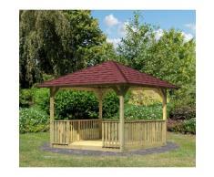 KARIBU Set: Holzpavillon »Cordoba 2«, BxT: 289x289 cm, inkl. Brüstung und Fußboden