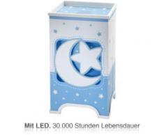 LED Nachttischlampe Mond & Sterne, blau/weiß