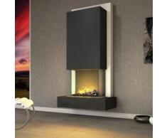 muenkel design Arco Elektrokamin Opti-myst heat: Negro (Schiefer schwarz) - Haube Reinweiß - Ohne Heizung