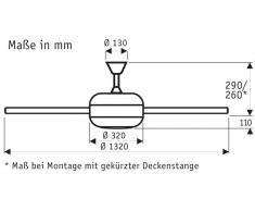 Deckenventilator Makkura Pepeo mit Flügeln in Silberoptik ohne Steuerung