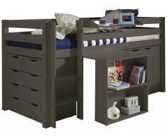 Halbhochbett Charlotte mit Schreibtisch, Kommode und Hochkommode - taupe