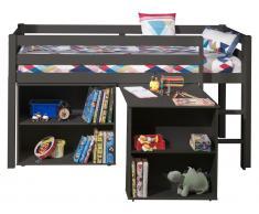 Halbhochbett Charlotte mit Schreibtisch und Bücherschrank - taupe