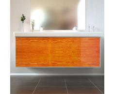 Badmöbel Wooden Leucht-Front Eiche mit Villeroy & Boch Doppelwaschbecken 130cm
