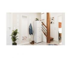 Garderobe Set 052 Comfort 4 tlg Schuhschrank 3 Klappen 12 Paar Weiss-Weiss Hgl