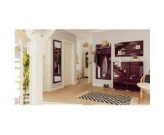 Garderobe Set 015 Emotion 4 tlg Schuhschrank 4 Klappen 16 Paar Weiss-Brombeer