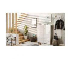 Garderobe Set 069 Comfort 3 tlg Schuhschrank 3 Klappen 20 Paar Weiss-Weiss Hgl