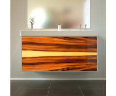Badmöbel Wooden Leucht-Front Nussbaum Holz mit Villeroy & Boch Waschbecken 100cm