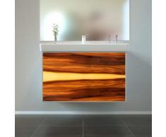 Badmöbel Wooden Leucht-Front Nussbaum Holz mit Villeroy & Boch Waschbecken 80cm