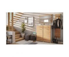 Garderobe Set 044 Malton 3 tlg Spiegel 16 Paar Weiss-Eiche