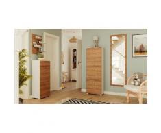 Schuhschrank Set 053 Comfort 4 tlg Spiegel 5 Klappen 20 Paar Weiss-Eiche