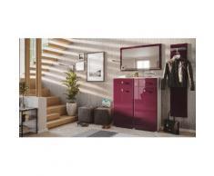 Garderobe Set 044 Malton 3 tlg Spiegel 16 Paar Weiss-Brombeer