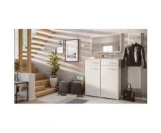 Garderobe Set 044 Nizza 3 tlg Spiegel 16 Paar Weiss-Weiss Hgl