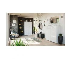 Garderobe Set 061 Comfort 4 tlg Schuhschrank 4 Klappen 42 Paar Weiss-Weiss Hgl
