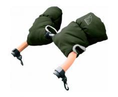 Heitmann Felle Kinderwagen-Handwärmer Eisbärchen, Handmuff für den Kinderwagen, Handschuhe mit praktischen Druckknöpfen zur Befestigung, warm und weich grün Kinder Zubehör Kinderwagen Buggies