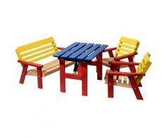 dobar Kindersitzgruppe, 4-teiliges Set bunt Kinder Kindersitzgruppe Kinderstühle Kindermöbel