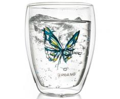 Creano Thermo-Glas, blau, doppelwandiges Tee-Glas, Latte Macchiato Glas, »Colourfly«, transparent, Neutral, transparent/blau
