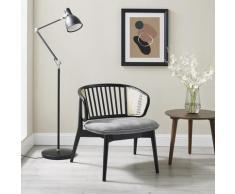 andas Armlehnstuhl Orwik, mit Rattan-Einsätzen in der Rückenlehne, Design by Morten Georgsen, Lounge chair grau Holzstühle Stühle Sitzbänke