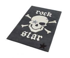 Rock STAR Baby Kinderteppich 702, rechteckig, 10 mm Höhe, handgearbeiteter Konturenschnitt, Kinder- und Jugendzimmer grau Kinder Kinderteppiche mit Motiv Teppiche