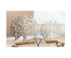 GILDE Dekoobjekt Lebensbaum auf Holzbase silberfarben Deko-Objekte Figuren Skulpturen Wohnaccessoires Dekofiguren