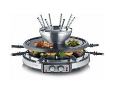 Severin Raclette und Fondue-Set RG 2348, 8 Raclettepfännchen, 1900 Watt silberfarben Küchenkleingeräte Haushaltsgeräte