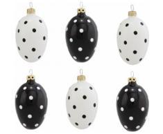 Thüringer Glasdesign Osterei Funny Dots, mundgeblasen, handbemalt weiß Osterdeko Vorfreude Ostern Dekofiguren