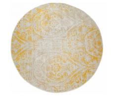 Paco Home Teppich Artigo 415, rund, 4 mm Höhe, Ornamente, Vintage Design, In- und Outdoor geeignet, Wohnzimmer gelb Schlafzimmerteppiche Teppiche nach Räumen