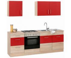 Küchenzeile Perth, rot, rot/eichefarben