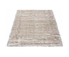 Fellteppich Marta Leonique rechteckig Höhe 55 mm handgetuftet, weiß, weiß-braun