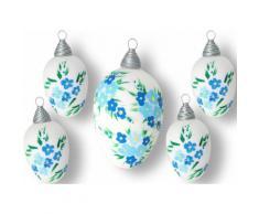 Krebs Glas Lauscha Osterei Blüten weiß Osterdeko Vorfreude Ostern Dekofiguren