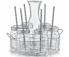 Zeller Present Gläser-Set (7-tlg), farblos, transparent-silberfarben
