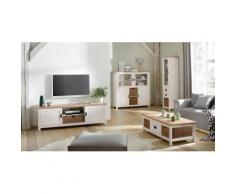 Home affaire Lowboard Georgina mit 2 Türen 2 offene Fächer und 1 Korb Breite 170 cm cm, weiß, weiß/creme